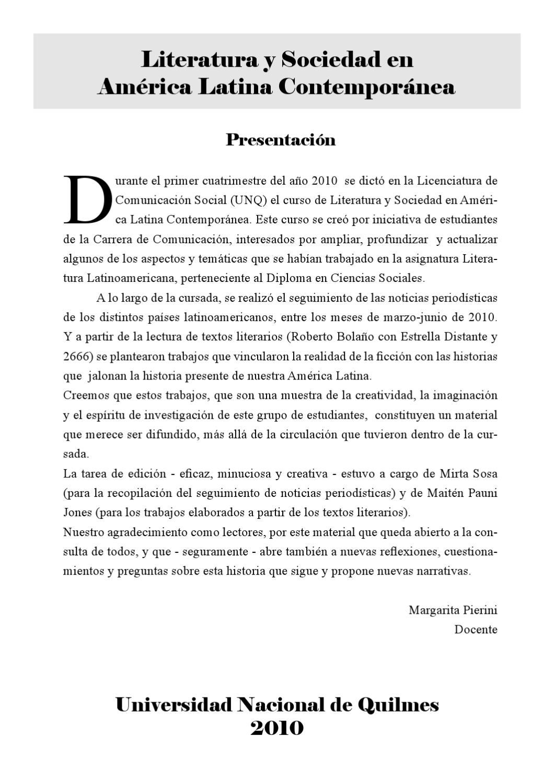 Trabajos del Curso de Literatura y Sociedad en America Latina by ...