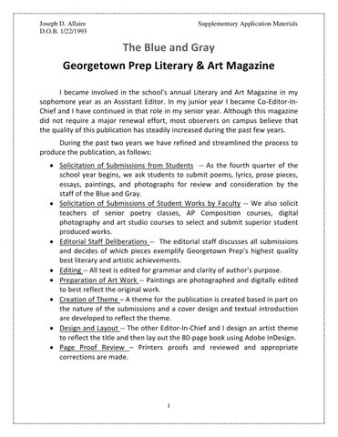 Introduction to the Blue and Gray Literary Magazine by Joseph