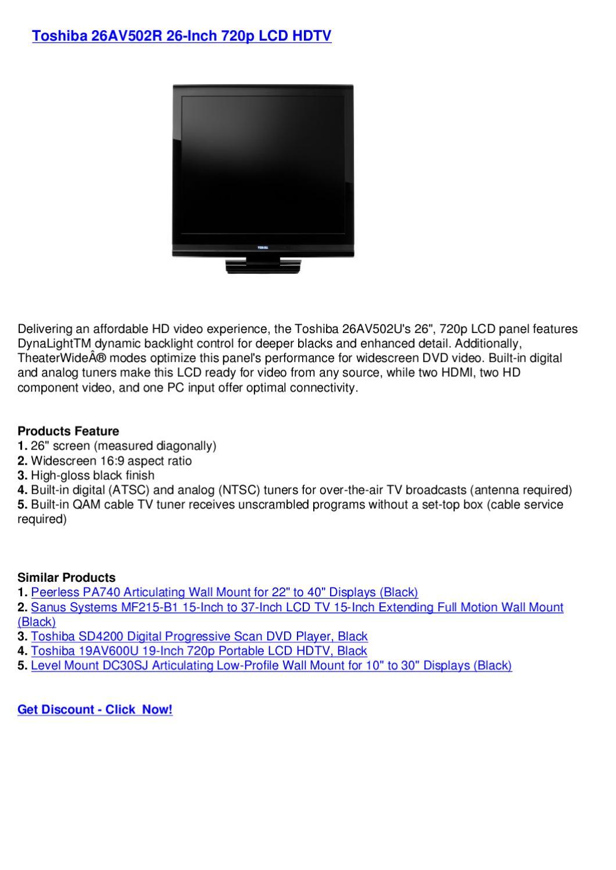 Toshiba 26av502r 26 Inch 720p Lcd Hdtv By Wide Screen
