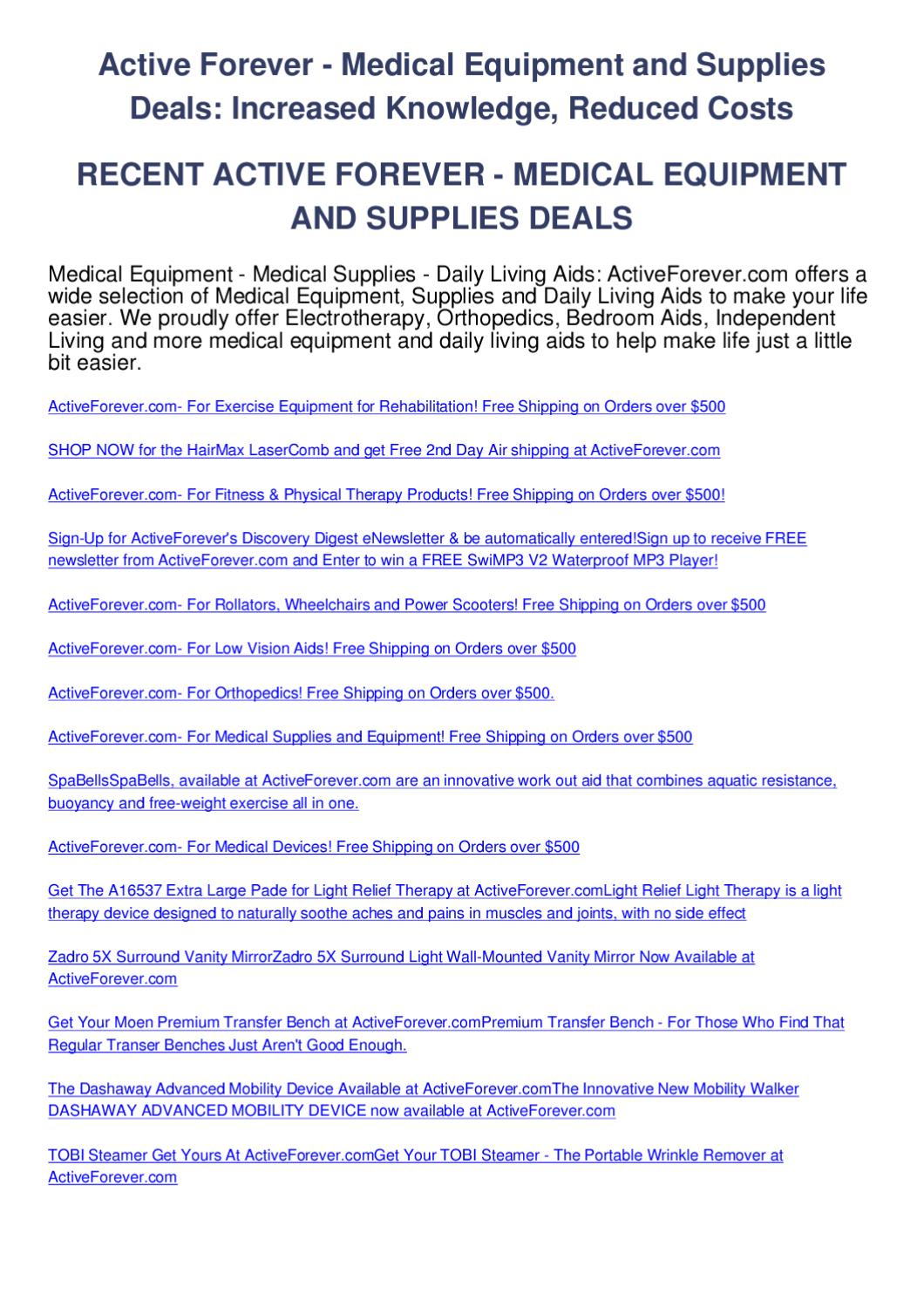 Active forever - medical equipment and supplies deals by