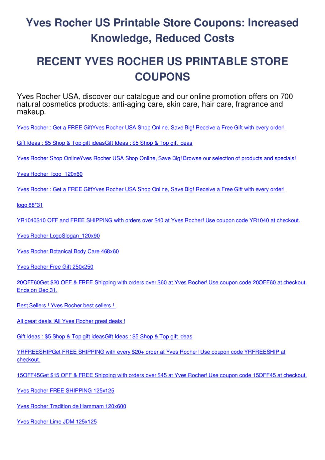 Yves Rocher Us Printable Store Coupons By Salem Horn Issuu
