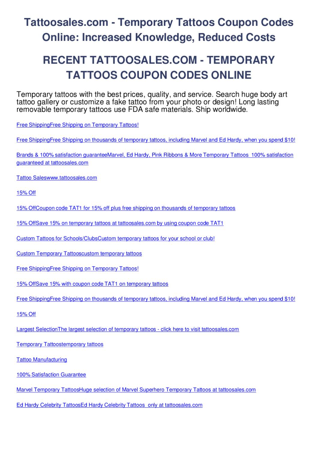 Tattoosales.com - temporary tattoos coupon codes online by salem ...