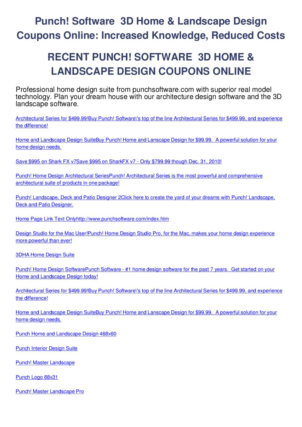 Punch software 3d home landscape design coupons online by - Punch home design architectural series ...