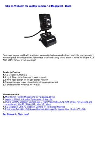 Clip on Webcam for Laptop Camera 1 3 Megapixel - Black by webkamm