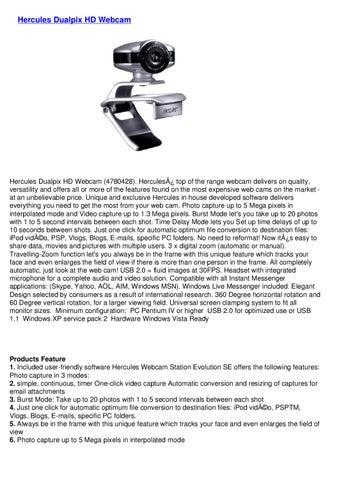 HERCULES TÉLÉCHARGER HD720P LOGICIEL DUALPIX