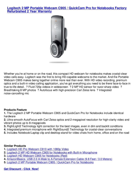 Logitech QuickCam Pro For Notebooks 2-Megapixel Notebook Webcam w//AutoFocus