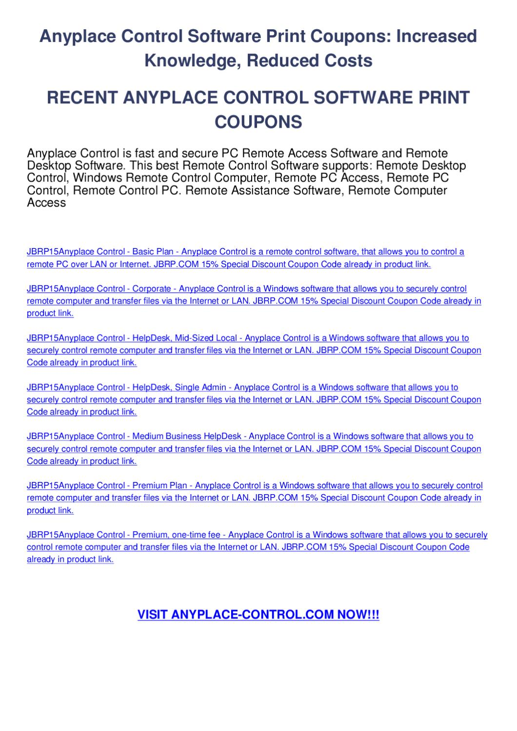 Anyplace control software print coupons by melis zereng - issuu
