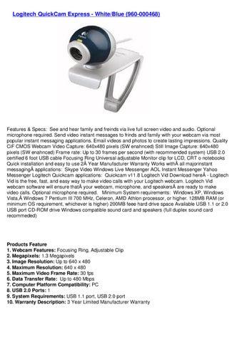 Logitech Quickcam Express Whiteblue 960 000468 By Webkamm