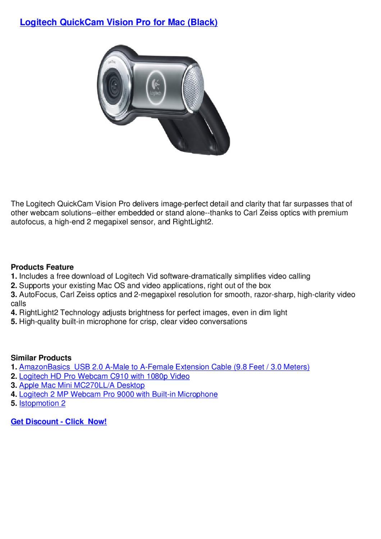 Logitech Quickcam Vision Pro For Mac Black By Webkamm Bkkderla