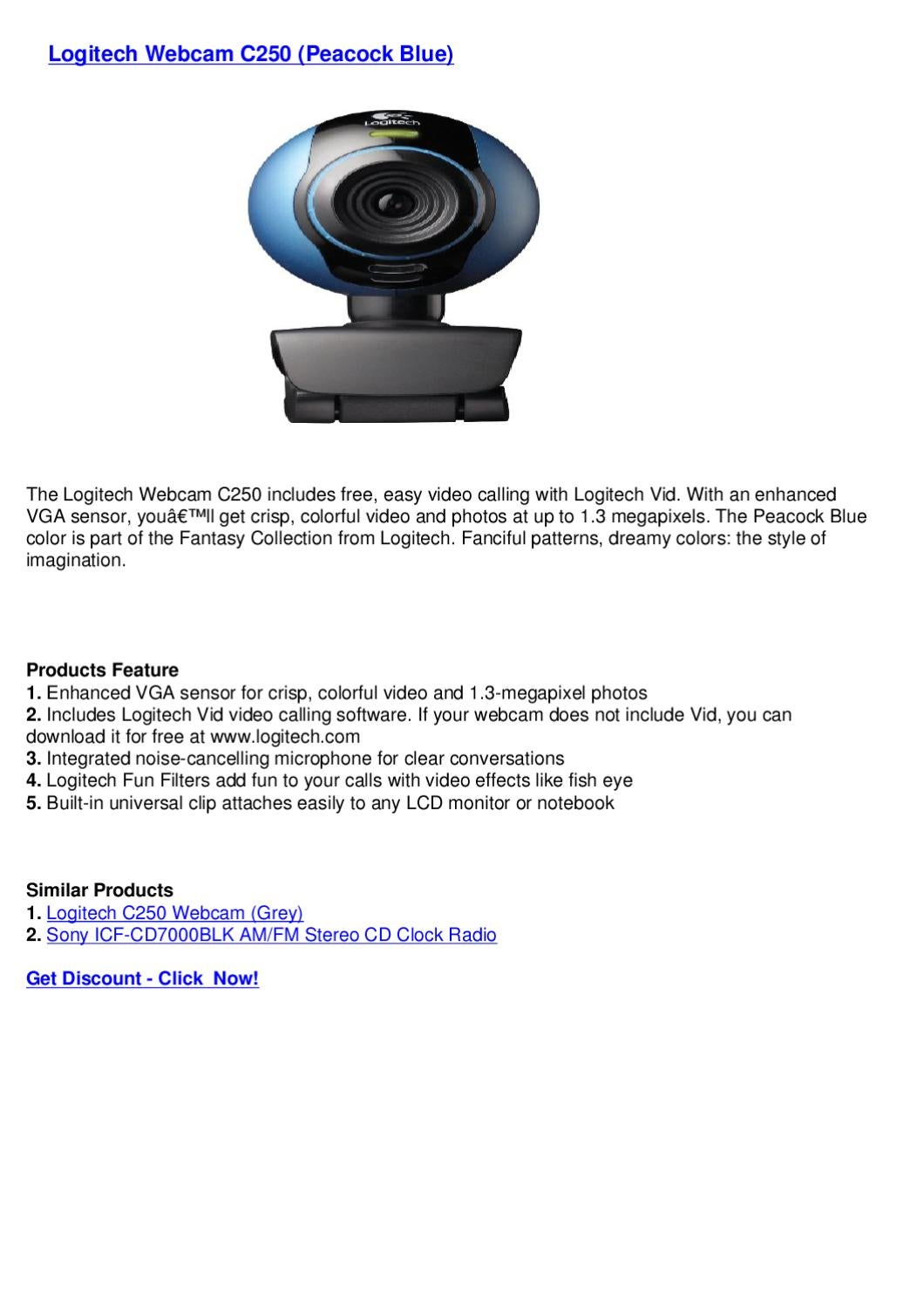 Logitech Webcam C250 Peacock Blue By Webkamm Bkkderla Issuu