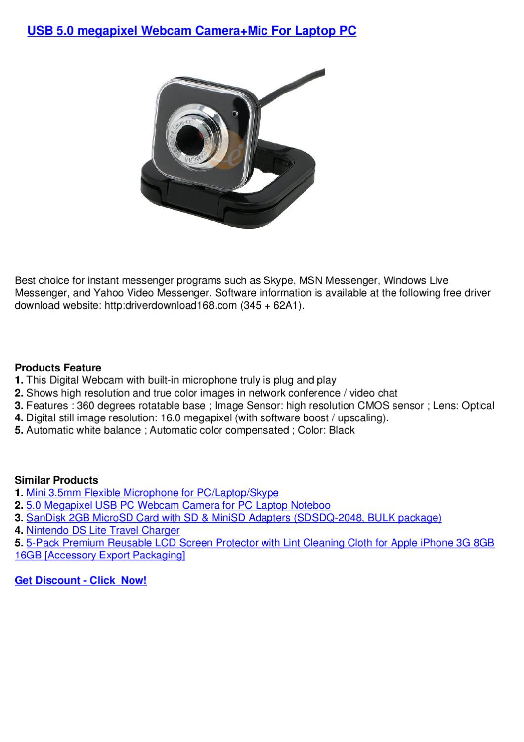 USB 5 0 megapixel Webcam Camera+Mic For Laptop PC by webkamm