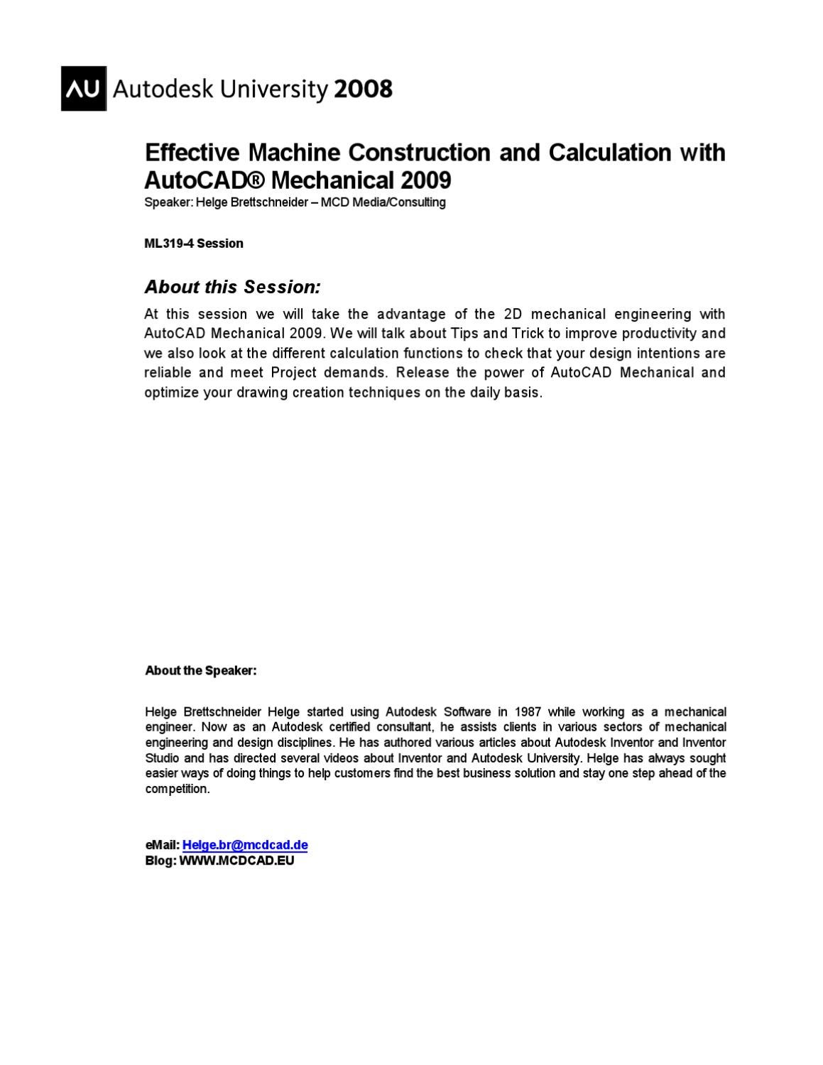 Effective Machine Construction and Calculation with AutoCAD