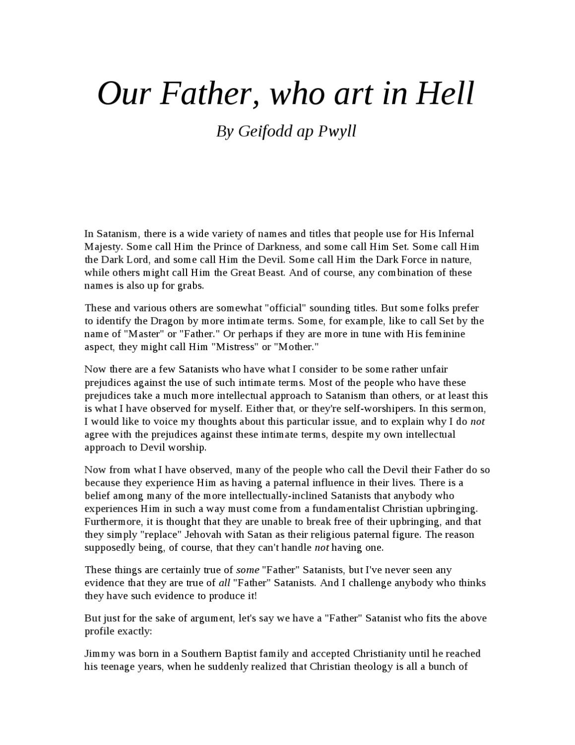 Our Father, who art in Hell by church of theistic satanism - issuu
