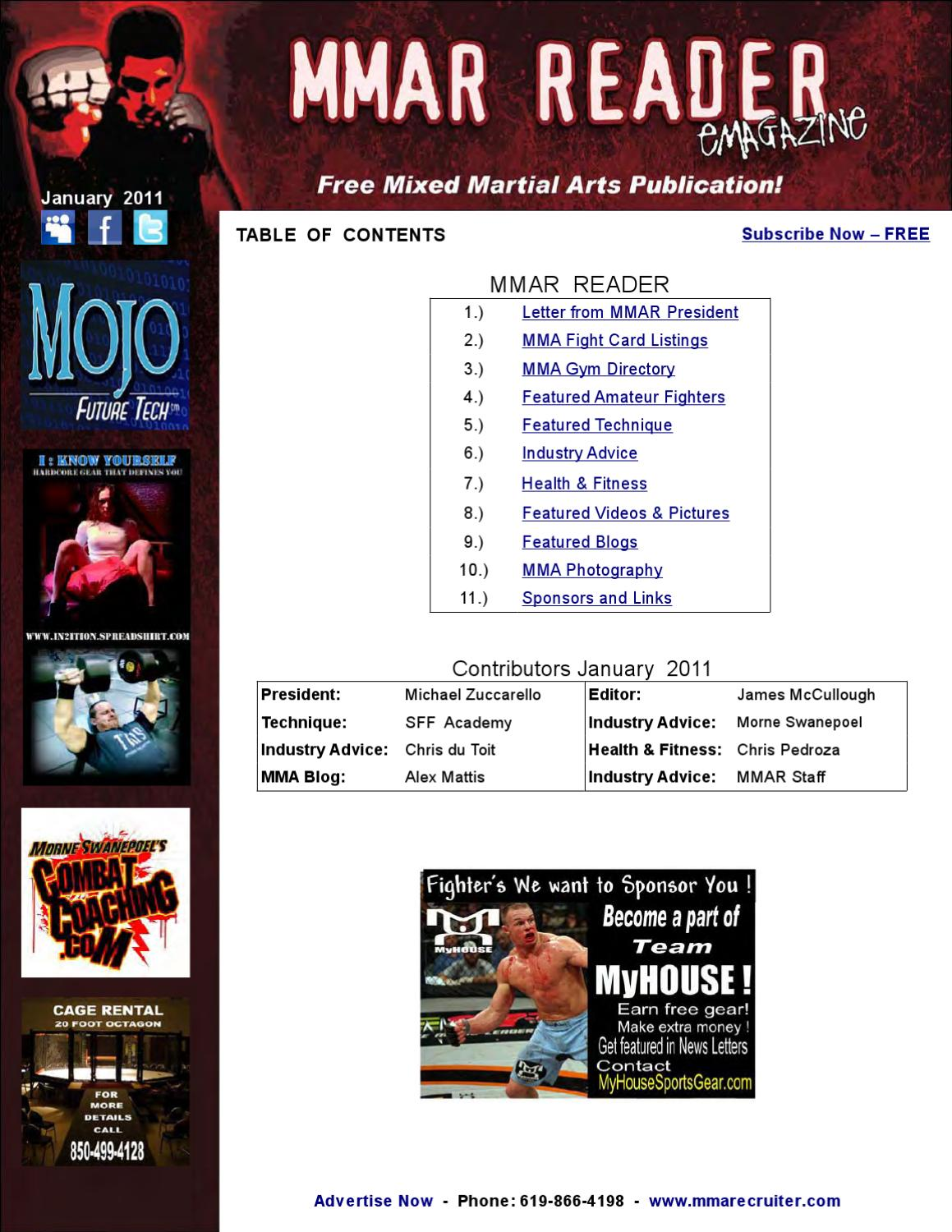 Free MMA Magazine - MMAR Reader - January 2011 by MMA