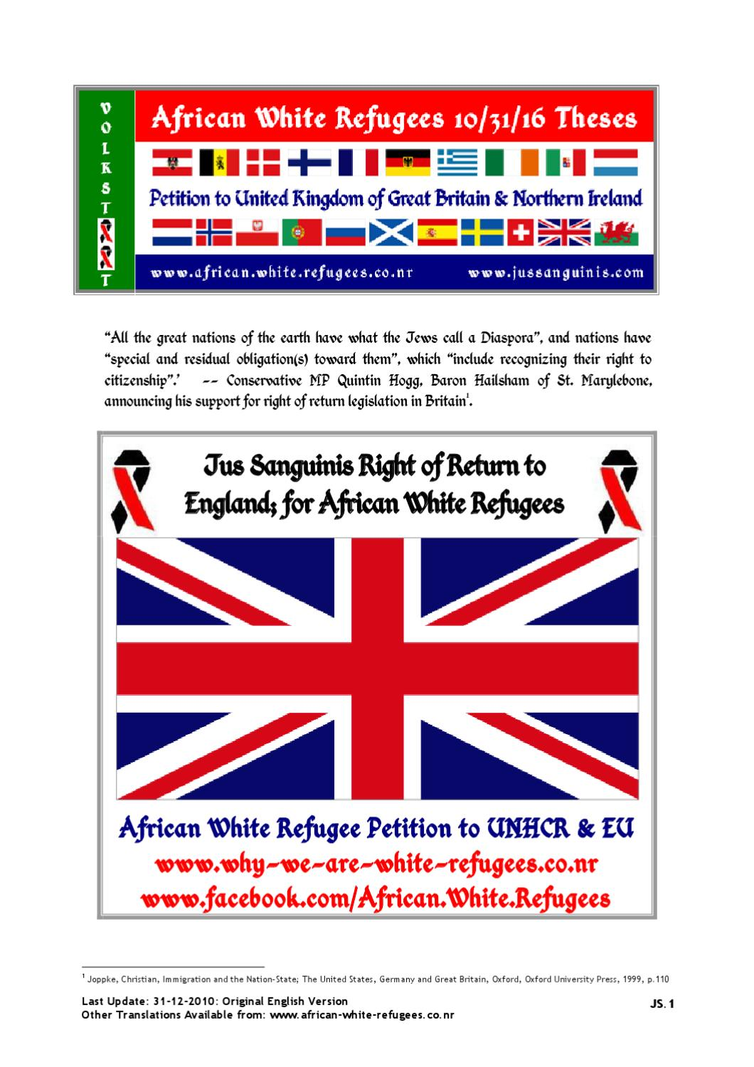uk african white refugee 10 31 16 theses boer volkstaat; or jusuk african white refugee 10 31 16 theses boer volkstaat; or jus sanguinis eu citizenship by andrea muhrrteyn issuu