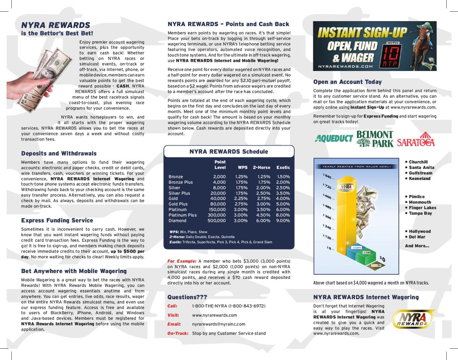 NYRA Rewards Brochure by The New York Racing Association