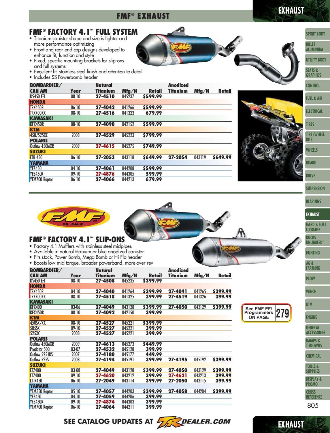 DG RCM II Slip-on Exhaust w// Quiet Core For Honda TRX350 Rancher 00-06