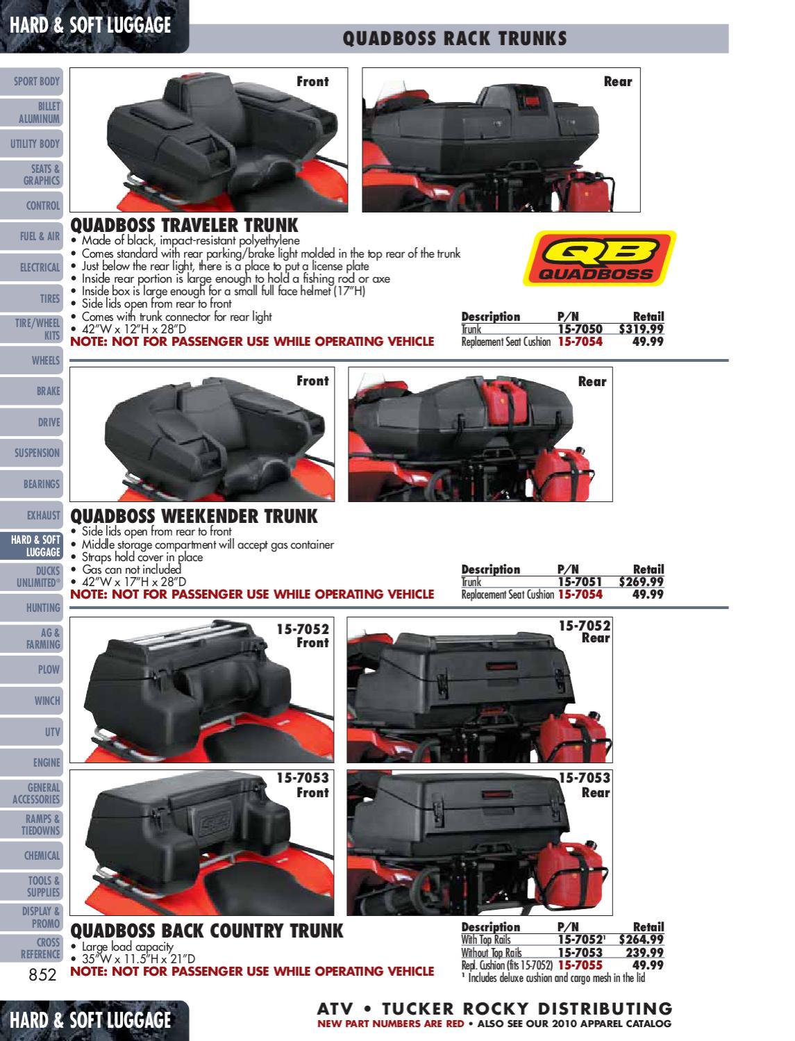 Quadboss Rest /& Store Rear Trunk ATV Cargo Storage Box Seat Black UNIVERSAL