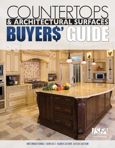 ISFA Countertops & Architectural Surfaces Buyers Guide 2010 by ISFA on gray limestone countertops, marble countertops, butcher block countertops, stone countertops, bamboo countertops, quartz countertops, silestone countertops, paperstone countertops, solid surface countertops, agate countertops, black countertops, hanstone countertops, kitchen countertops, obsidian countertops, concrete countertops, copper countertops, metal countertops, slate countertops, corian countertops, granite countertops,