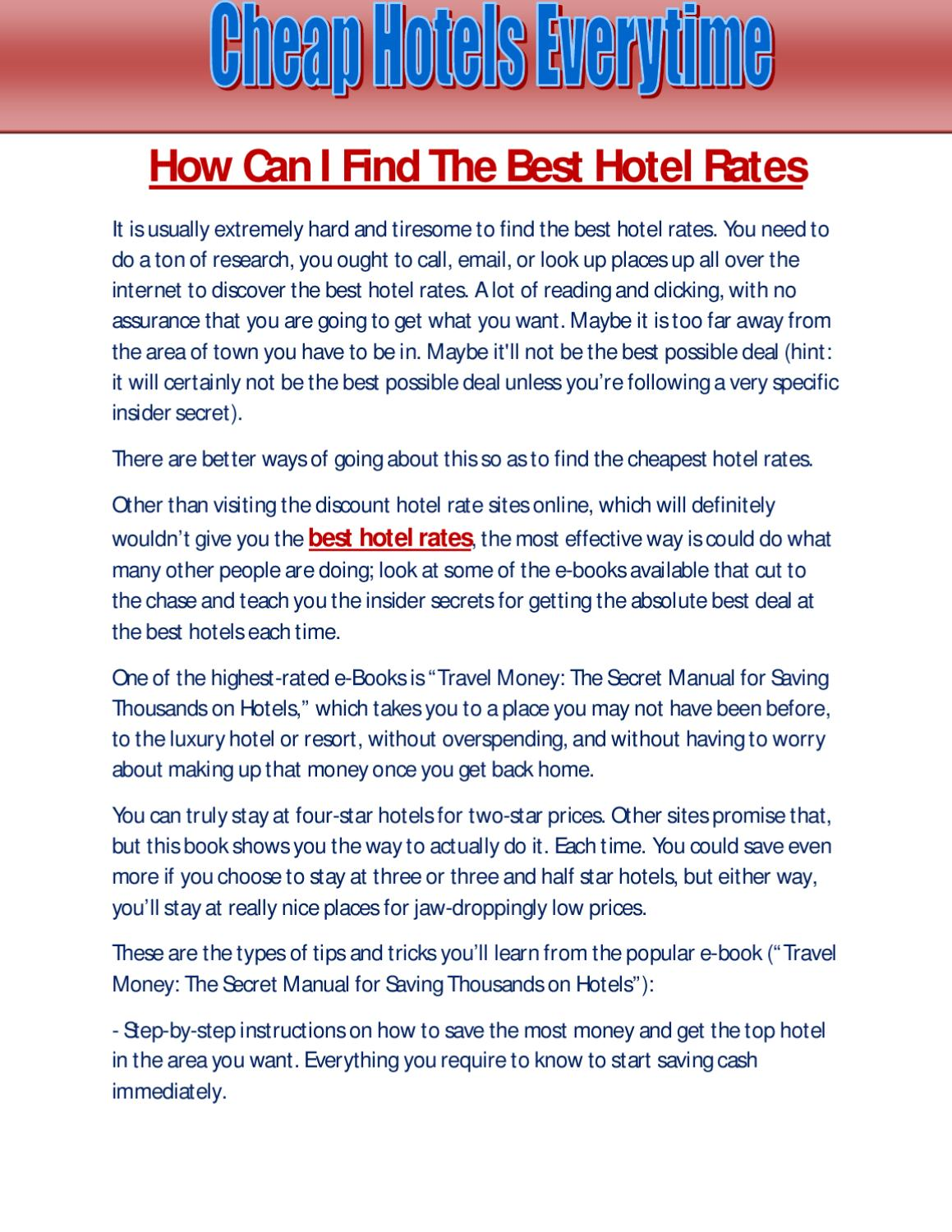 Best Hotel Rates By Luther Cale