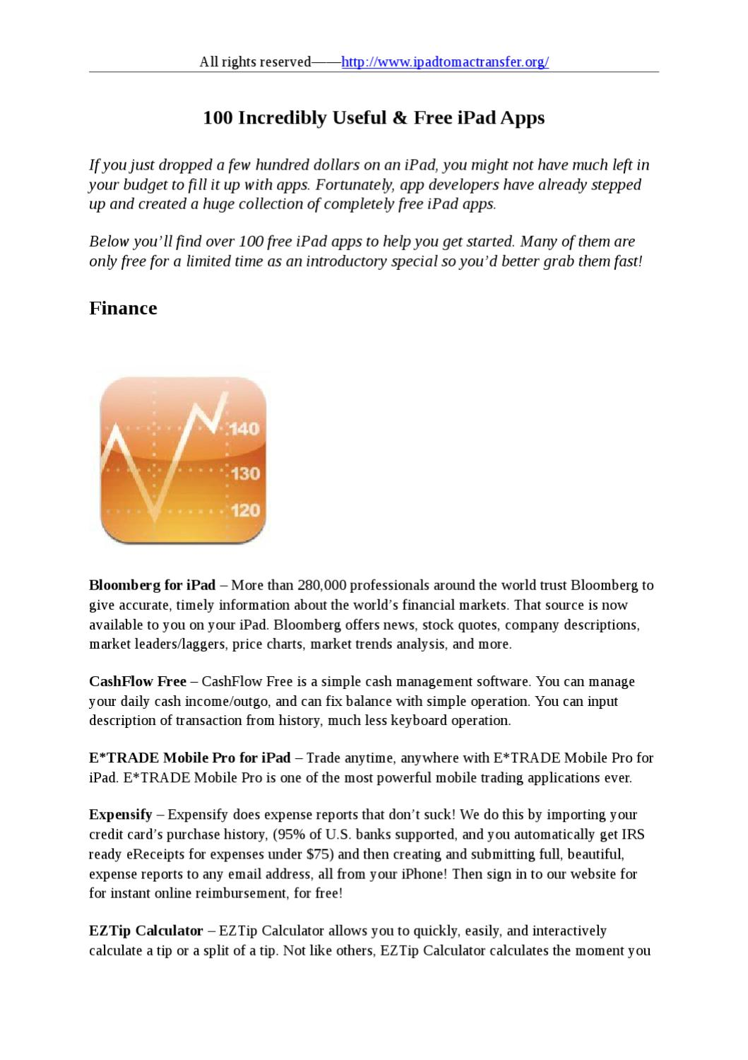 100 Incredibly Useful & Free iPad Apps-Finance by stafenia