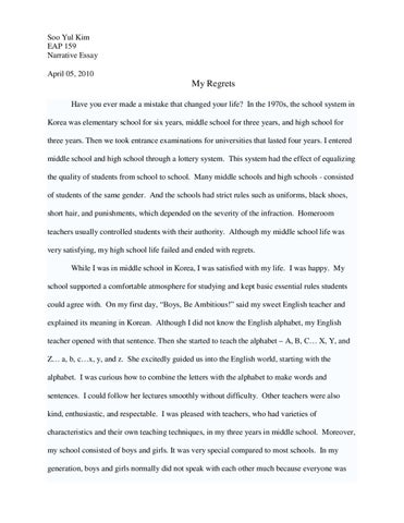 Help On Essay About Regret?