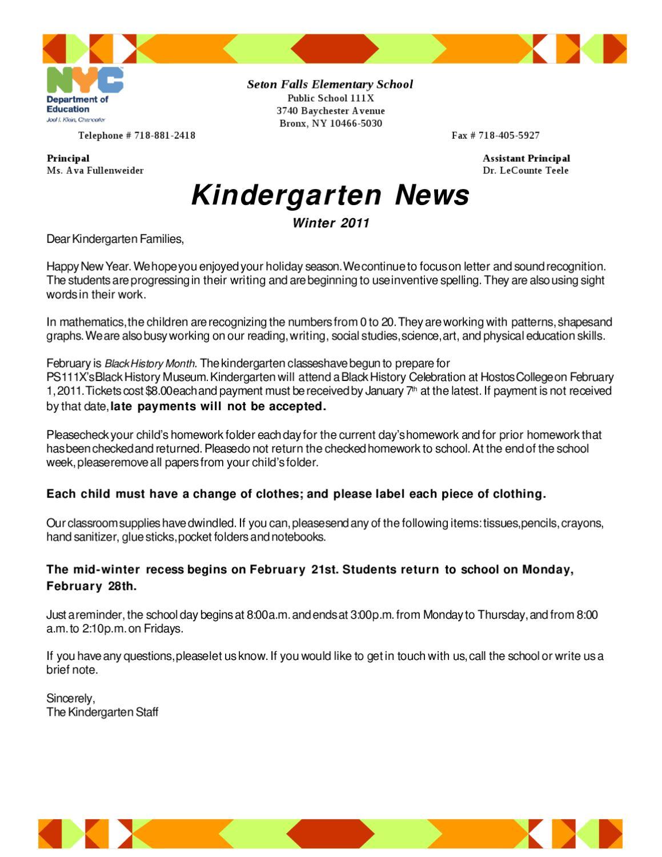 Kindergarten News Winter 2011 by Chris Lee - issuu