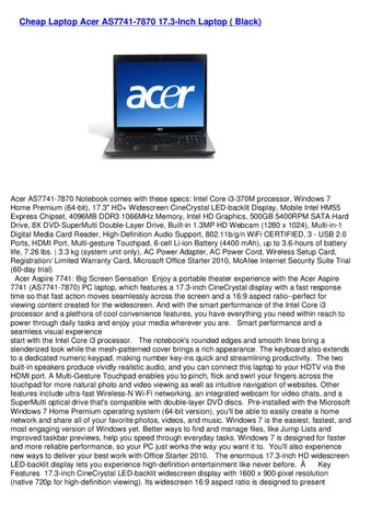 ACER AS7741 DRIVER FOR WINDOWS 10