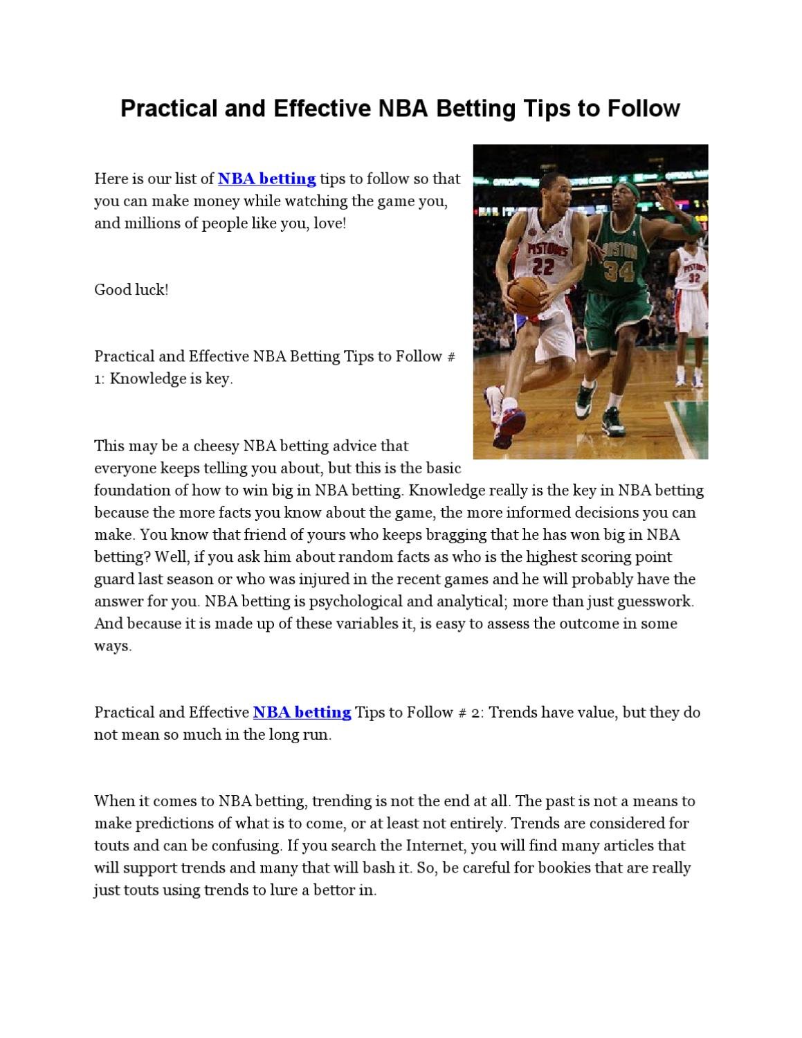 Practical and Effective NBA Betting Tips to Follow by Jerry