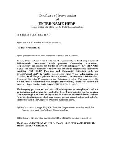 Certificate of incorporation non profit for nys by saladin allah certificate of incorporation of altavistaventures Gallery