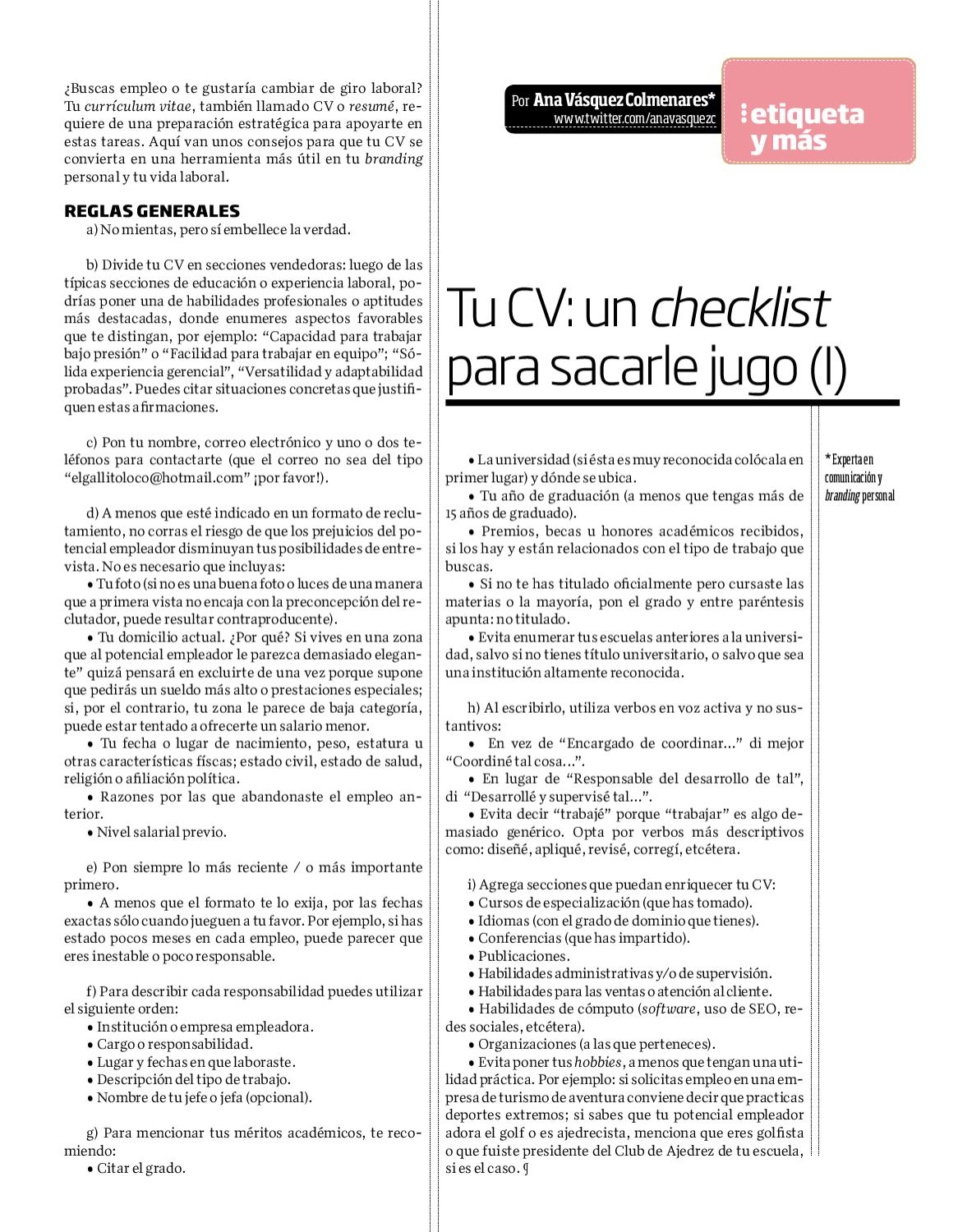 CV Checklist by javier garza - issuu