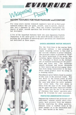 1955 - EVINRUDE 15hp Outboard Motor 'Fastwin' Owners Manual