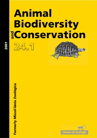 f1770b5048 Animal Biodiversity and Conservation issue 24.1 (2001) by Museu ...