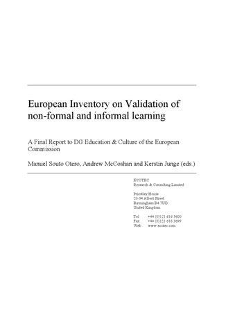 The learning continuity european inventory on validating non-formal and informal learning