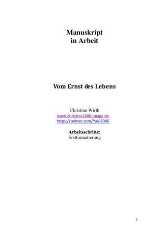 Vom Ernst Des Lebens [Manuskript Christine Wirth] By MedienBooks   Issuu