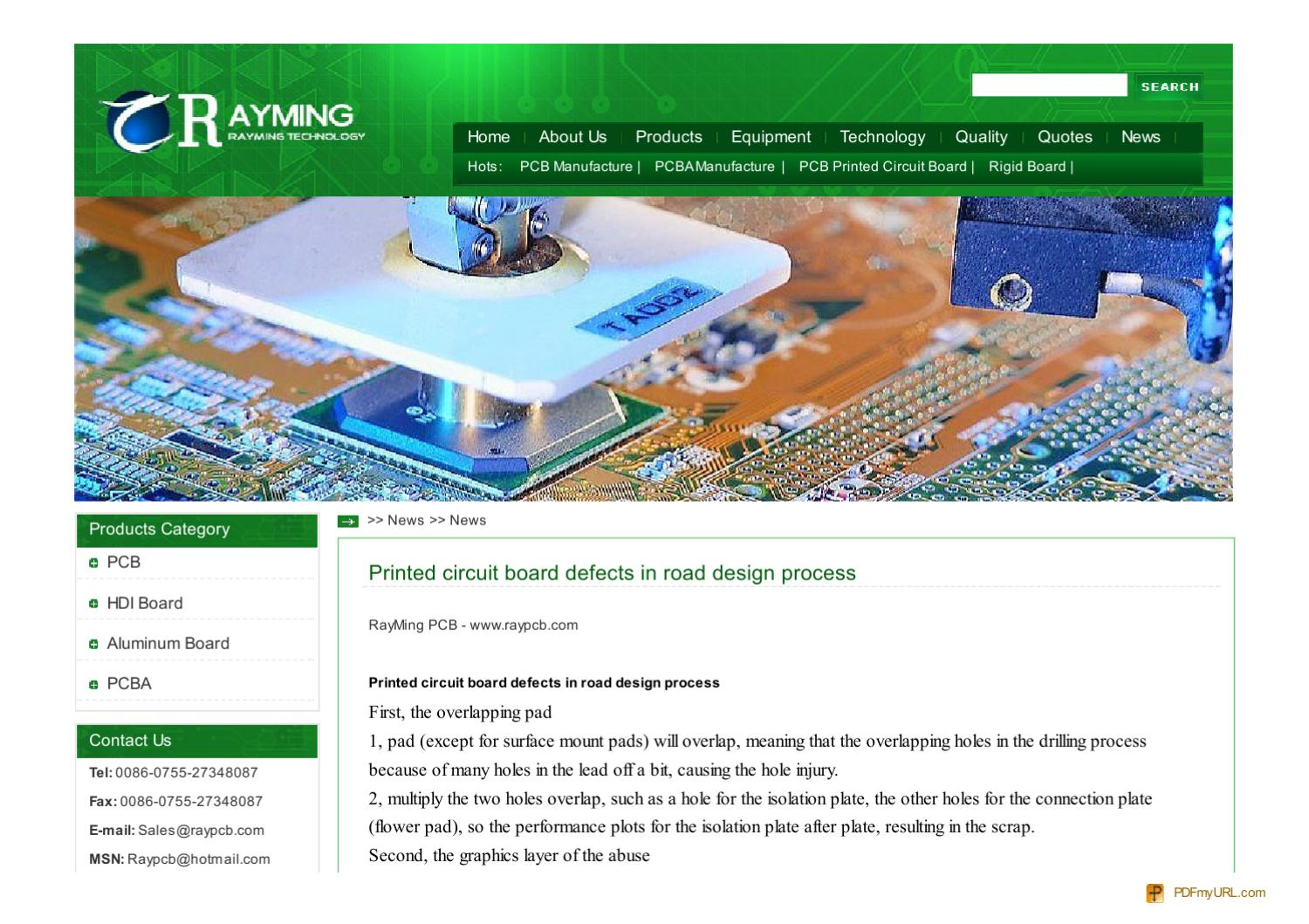 www raypcb com-News-Printed-circuit-board-defects-in-road