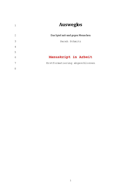 Ausweglos [Manuskript von Sarah Schmitz] by MedienBooks - issuu
