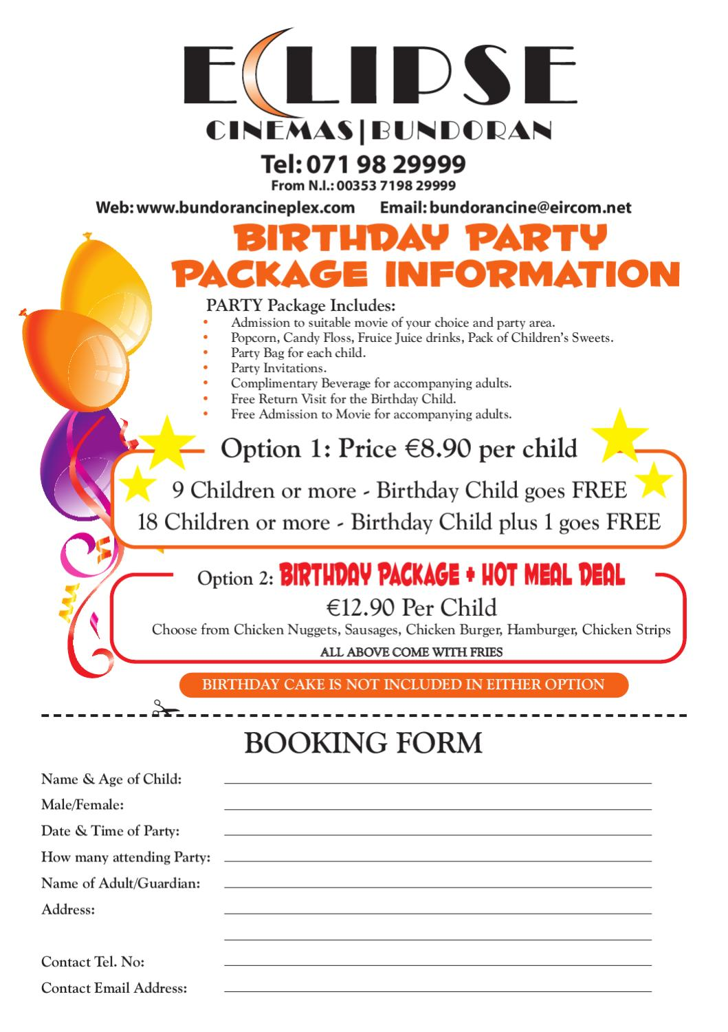 Birthday Party Package by Eclipse Cinemas - issuu