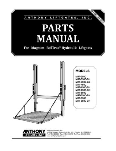Anthony Magnum RailTrac MRT Series Liftgate Parts Manual by THE Liftgate  Parts Co. - issuuIssuu
