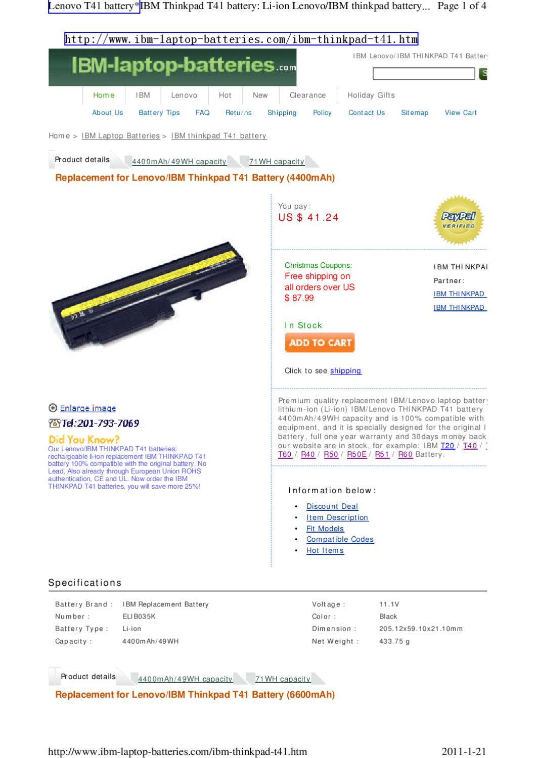 Lenovo T41 Battery/IBM THINKPAD T41 battery on sale by
