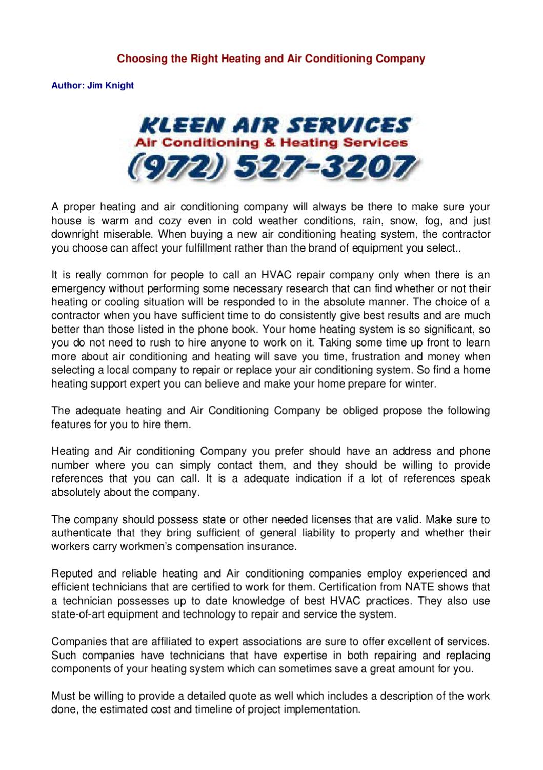 Choosing The Right Heating And Air Conditioning Company By Jim
