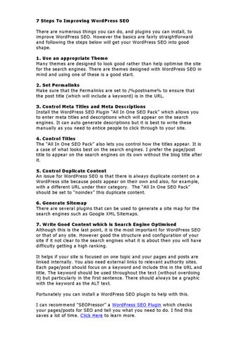 7 steps to improving wordpress seo there are numerous things you can do and plugins you can install to improve wordpress seo
