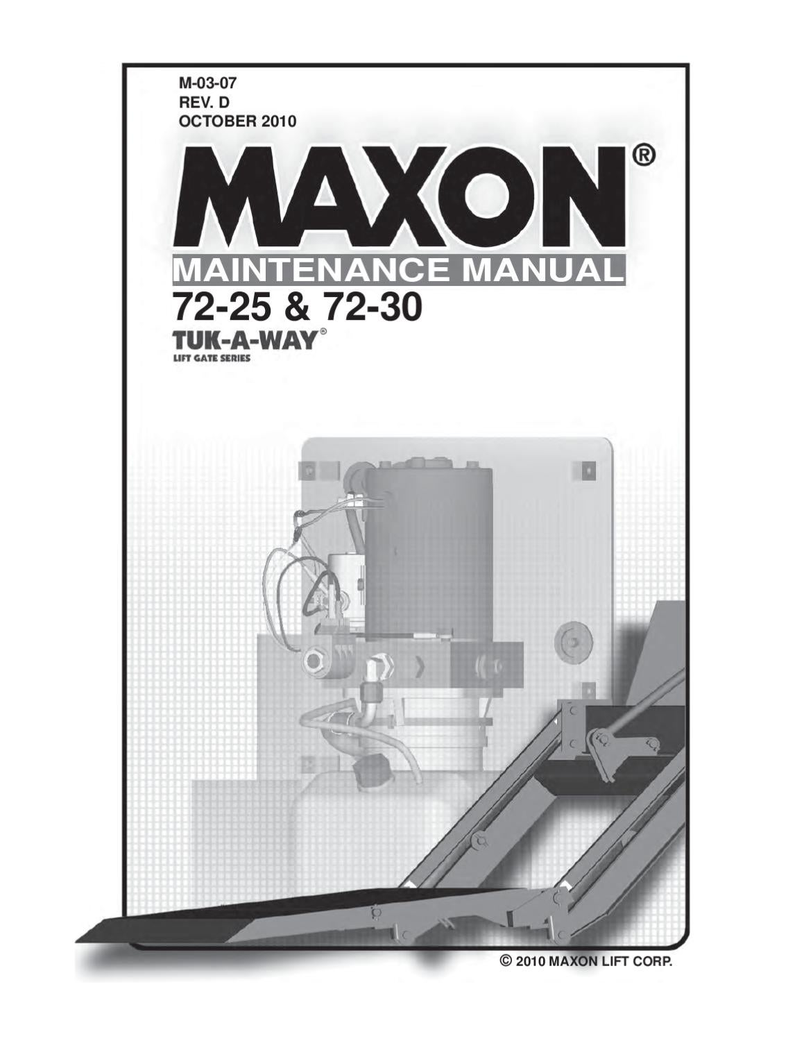 Maxon 72 Series Liftgate By The Parts Co Issuu Anthony Lift Gate Wiring Diagram