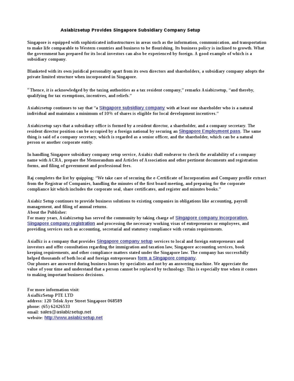 Asiabizsetup Provides Singapore Subsidiary Company Setup By Diane