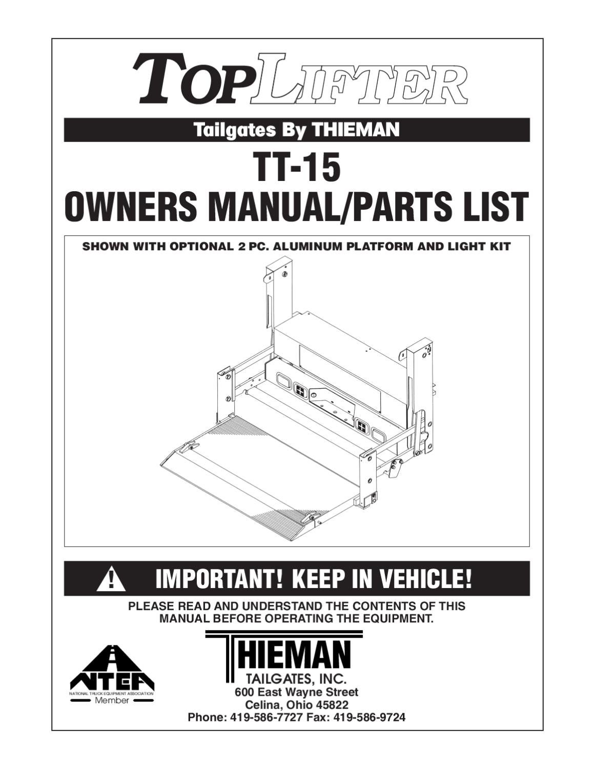 Thieman Lift Gate Wiring Diagram For Model Tt 12 Electrical Harness Enthusiast