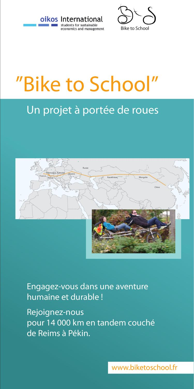 Plaquette De Pr 233 Sentation Du Projet Bike To School