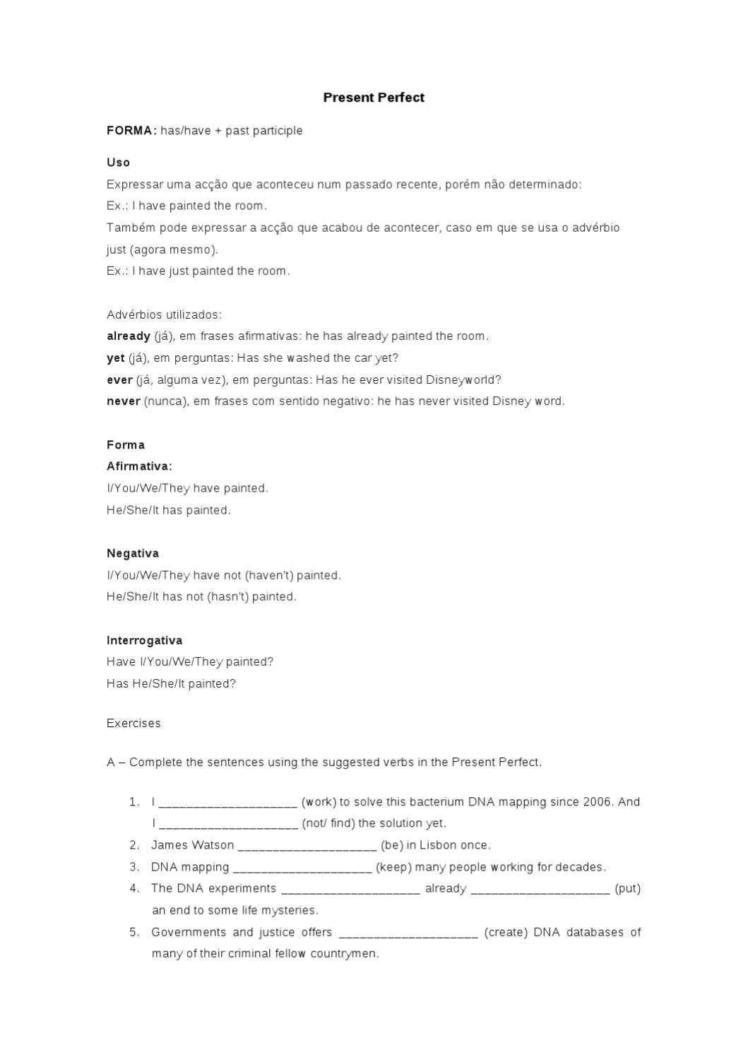 Present Perfect Exercises By Mj R Issuu