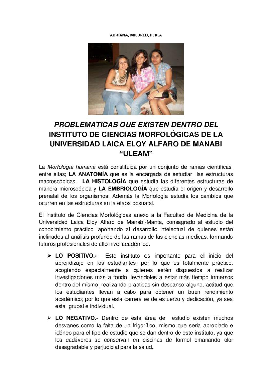 PROBLEMATICAS QUE EXISTEN DENTRO DEL INSTITUTO DE CIENCIAS ...