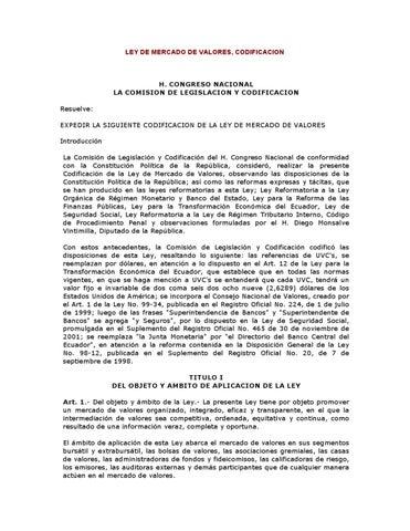 Ley del Mercado de Valores by Bolsa de Valores de Quito - issuu