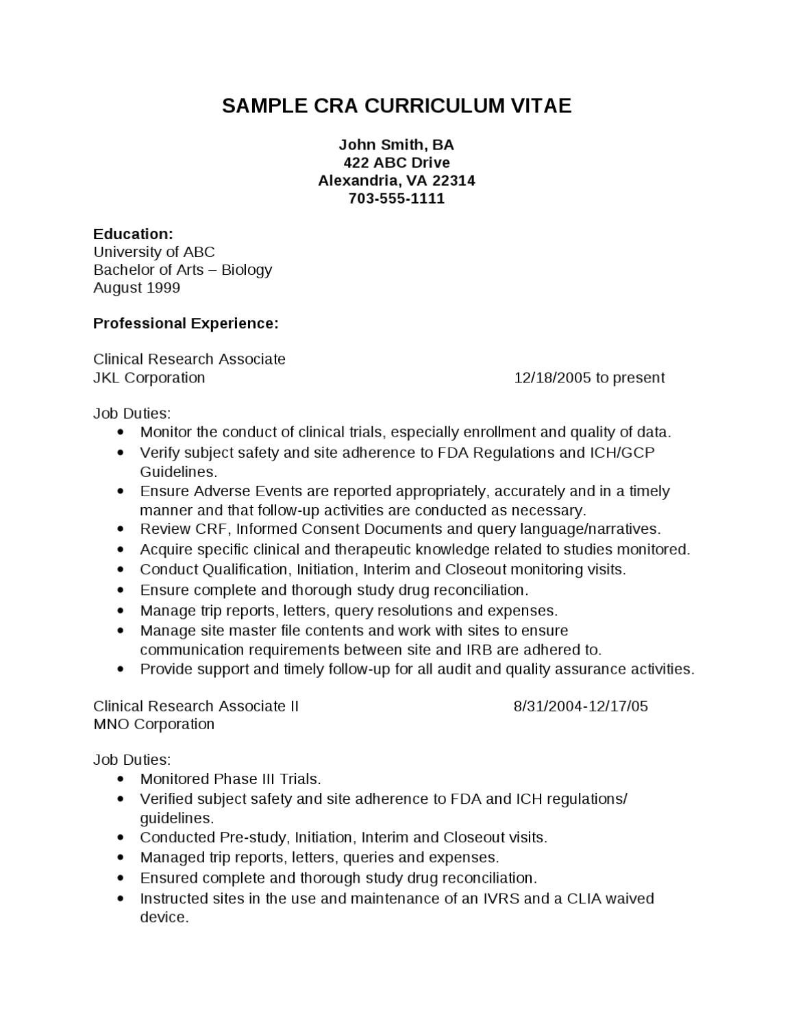 sample cra resume by pharma student